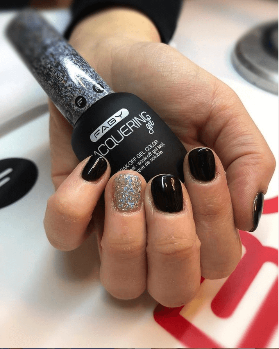Faby Lacquering Gel Black&Glitter